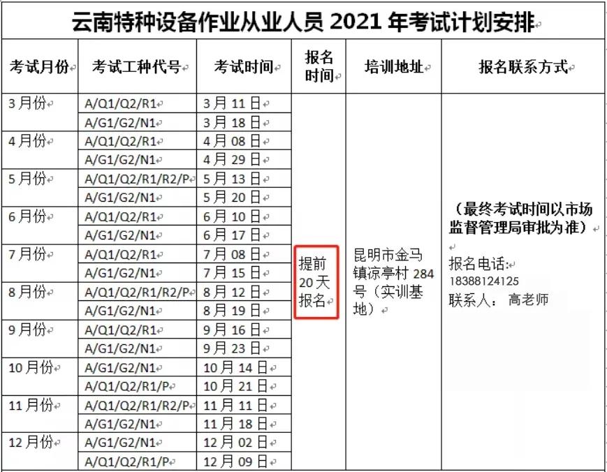 2021年6月云南省特种设备叉车、起重机、压力容器、锅炉工等作业人员考试培训通知